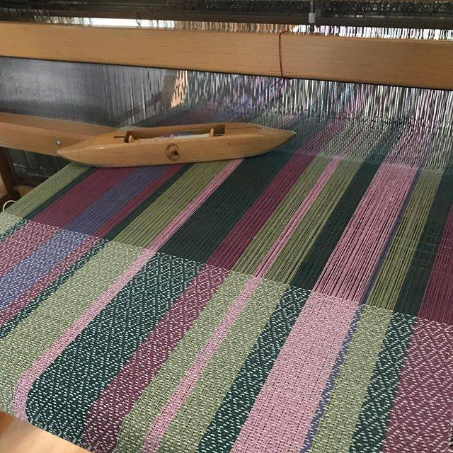 Herb garden towel on loom
