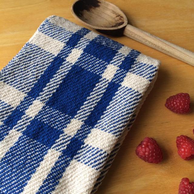 Blue farmhouse plaid towel