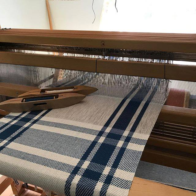 Colonial blue towels on loom