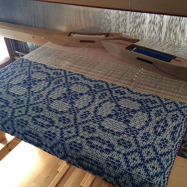 Whig Rose in blue on loom