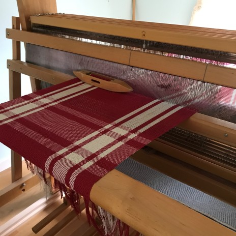 Red plaid on loom
