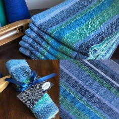 All blue diamond twill towels