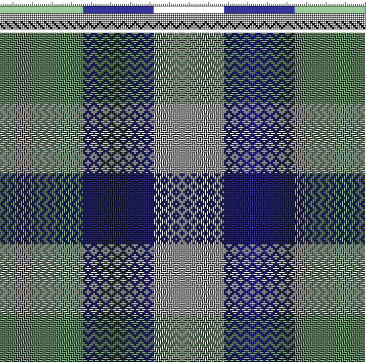 Asymettrical plaid draft closeup