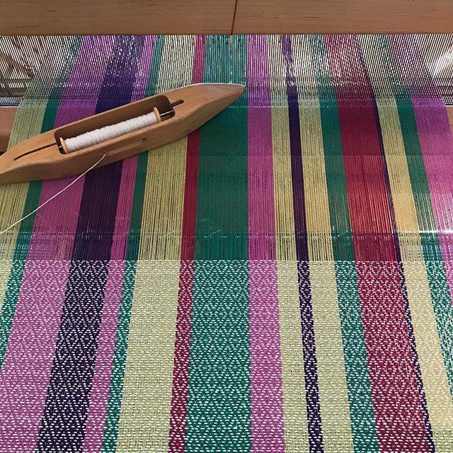 Flower garden towel fabric on loom.jpg