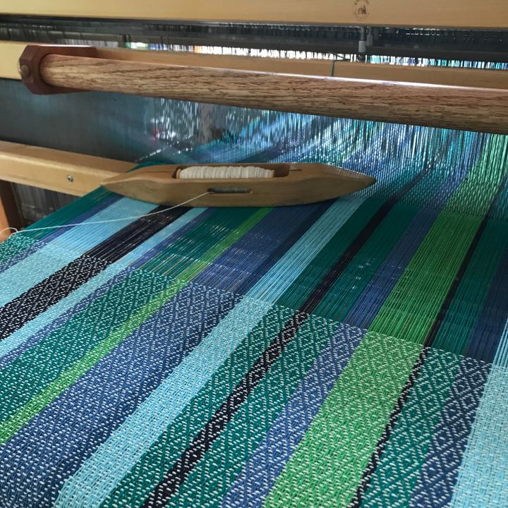 Weaving with the greener side of blue