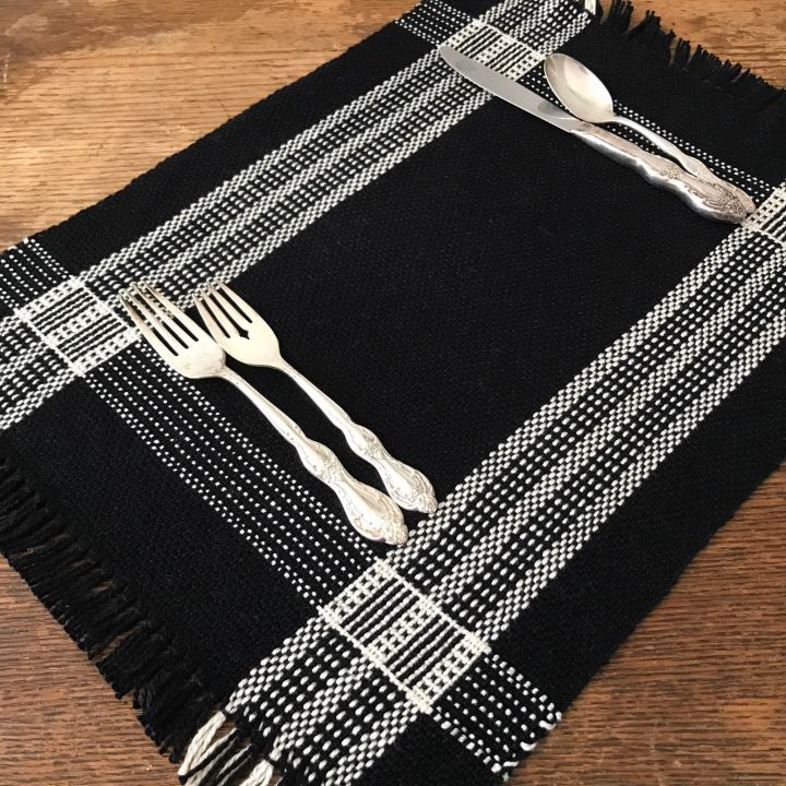 "Log cabin placemats, ""Art, Craft and Design"" exhibition"