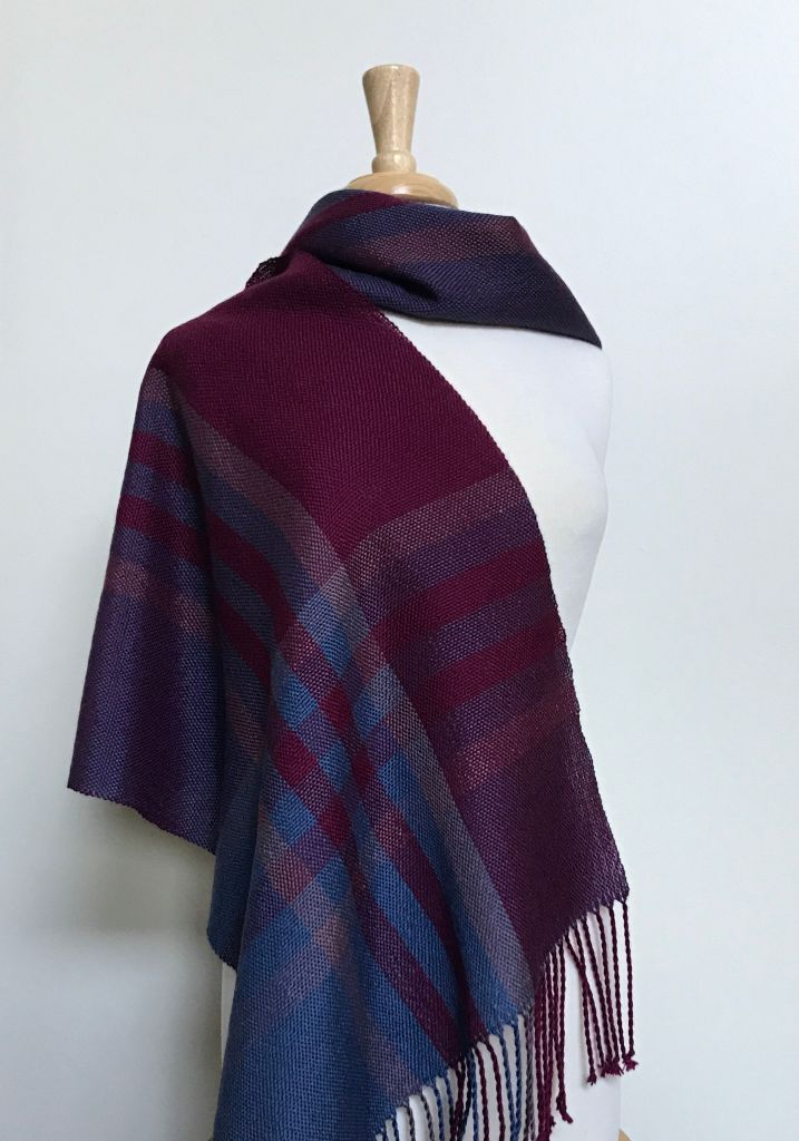 Merino shawl in plum, handwoven by Kate Kilgus.